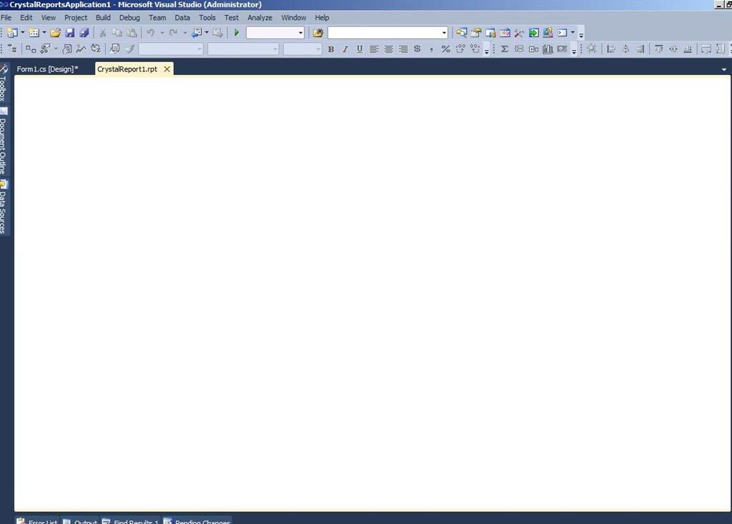 Crystal report design display nothing in Visual Studio 2010
