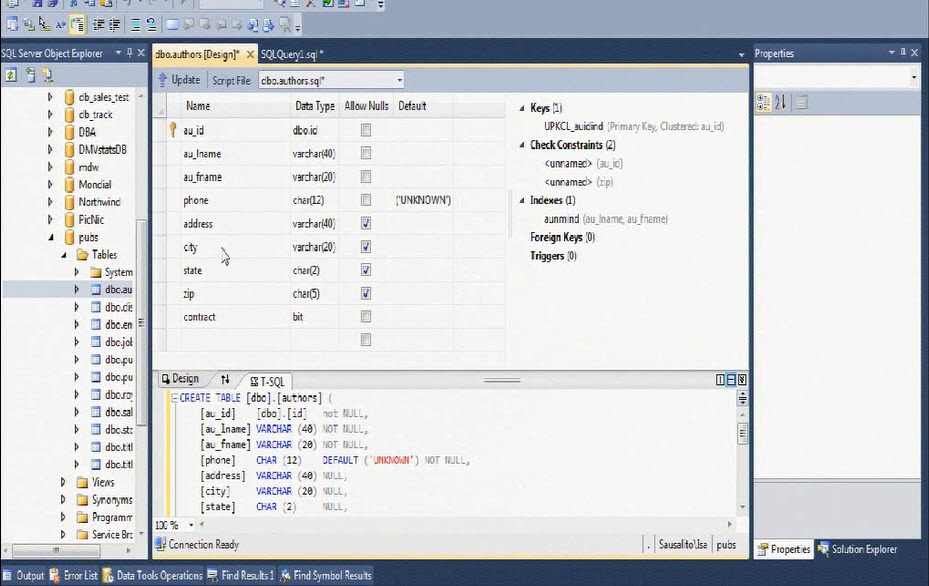 How to generate the create table script in ms sql server for Table design sql