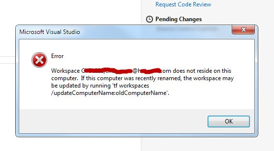 Workspace xxxxx:xxxxx does not reside on the computer