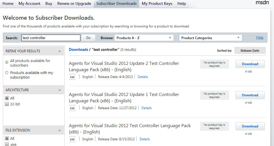 Where to download Visual Studio 2012 Test Controller