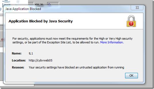 ApplicationBlockedbyJava