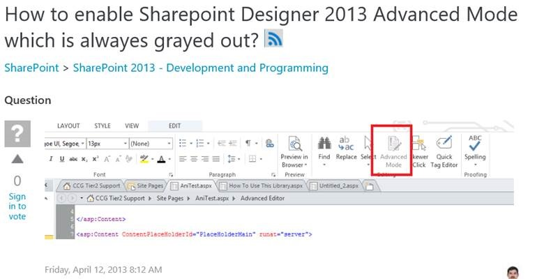 Advanced Mode to edit html page in SharePoint Designer 2013