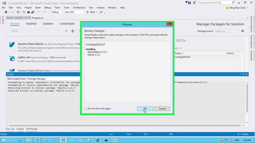 How to use SQLite with Visual Studio Project | Chanmingman's